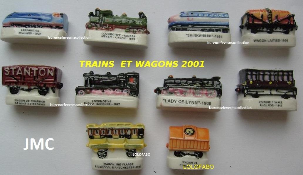 2001p56 feves serie complete trains et wagons 2001 jmc
